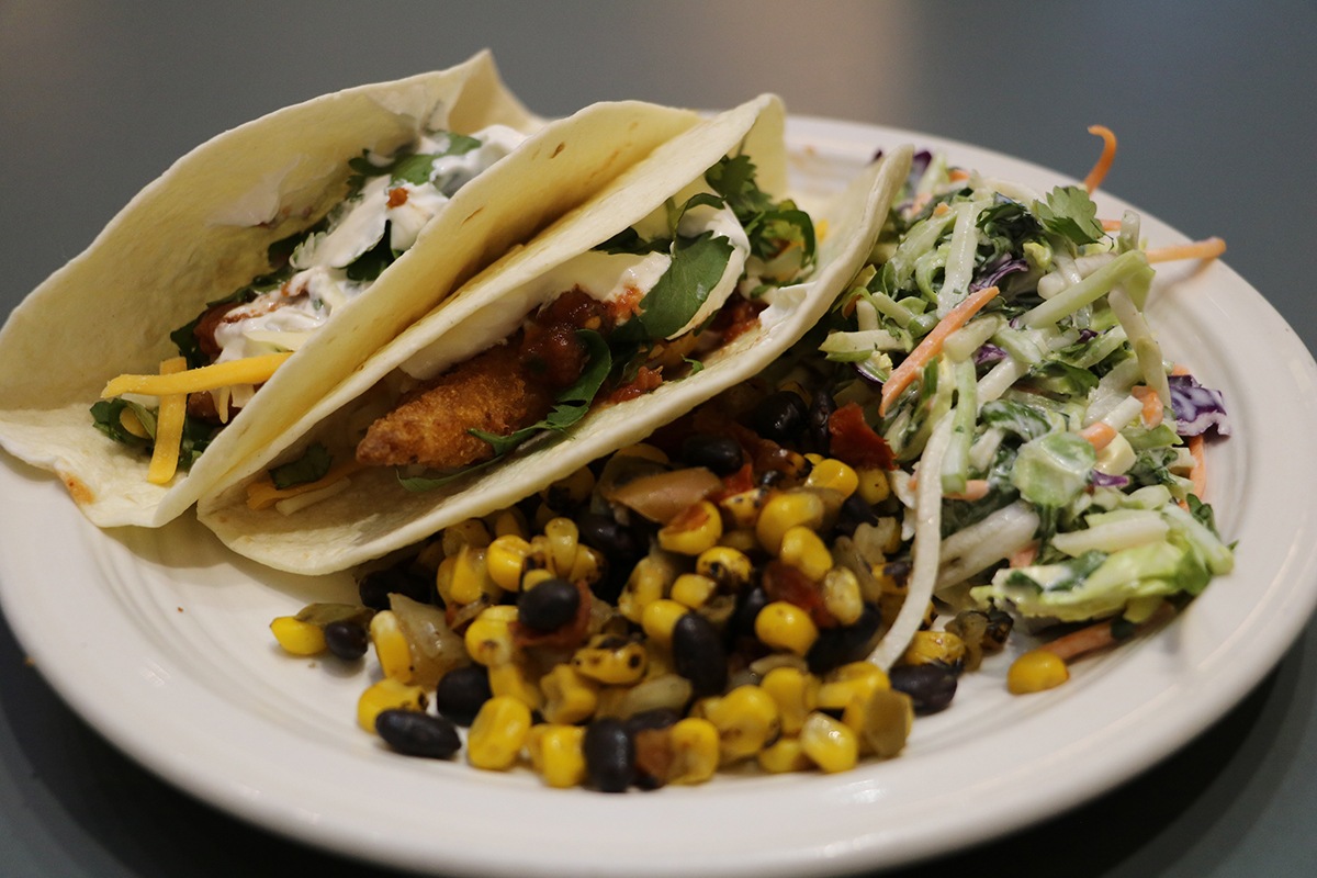 Beer Battered Fish Tacos with Super Foods Slaw & Fire Roasted Corn with Beans