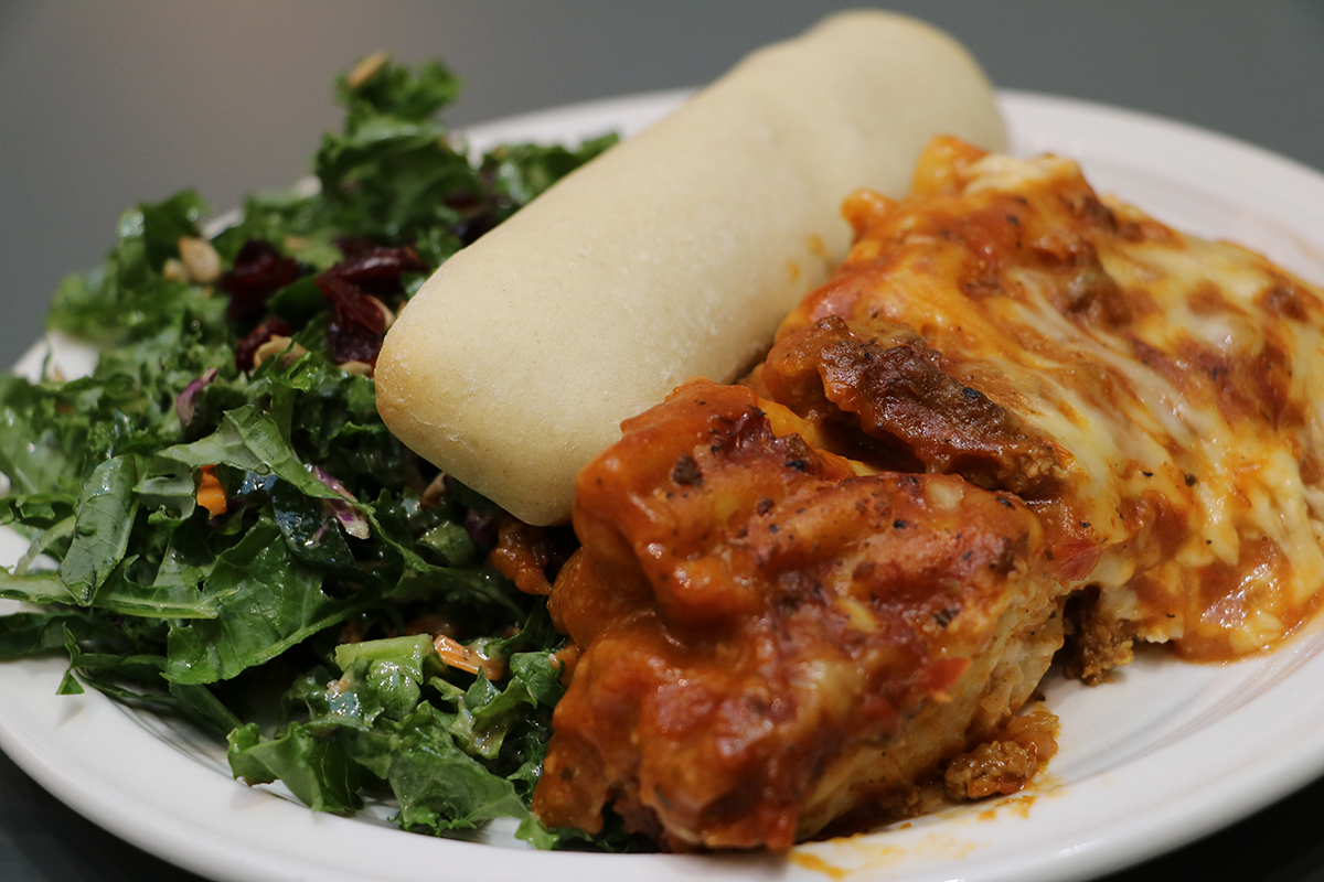 Meat with Kale Salad and Bosco Stick