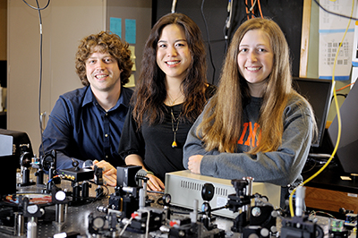 From left, Andrew Bower, a fifth-year Ph.D. student in electrical and computer engineering, and Joanne Li, a sixth-year Ph.D. student in bioengineering, mentored Janet Sorrells, a fifth-year senior studying biomedical engineering at the University of Rochester.