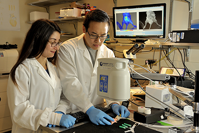 Jamila Hedhli (left), a fourth-year Ph.D. student in bioengineering, and  Than Huynh, a junior in bioengineering at Illinois, demonstrate equipment in Beckman's Biomedical Imaging Center.