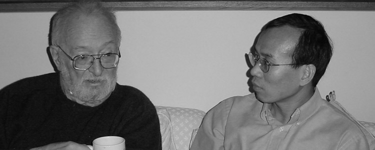 Nobel Laureate Paul Lauterbur (left) served as a mentor to Zhi-Pei Liang. Photo circa 2004.