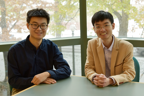 Yuan Jia (left), an undergraduate in the Moore Group, and Yun Liu (right), a postdoctoral researcher in the Moore Group, are interested in developing new techniques to synthesize ring polymers.