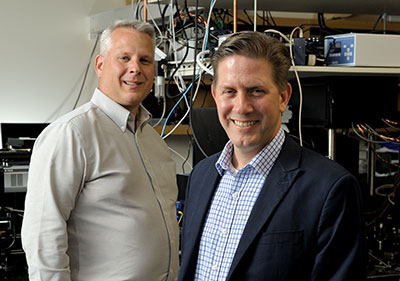 Co-directors for the GSK Center for Optical Molecular Imaging are Zane Arp, left, U.S. lead for imaging technologies at GSK, and Stephen Boppart, a professor of electrical and computer engineering and of bioengineering, and co-chair of the Integrated Imaging theme.