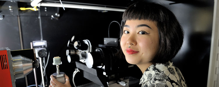 Florence Lin, a research assistant for Charles Roseman in the Department of Anthropology, uses the Microscopy Suite's bioCT scanner in order to understand natural selection on patterns within and among populations' genetic and phenotypic diversity at various timescales.