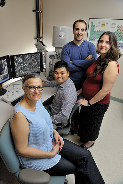 From left, Marianne Alleyne, a research scientist in entomology; Junho Oh, a student in mechanical science and engineering; Nenad Miljkovic, an assistant professor of mechanical science and engineering; and Catherine Dana, a student in entomology, study how nature can inspire technological advancements.