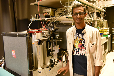Rishee Iyer shown in one of the laser labs.