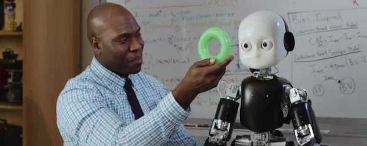 Onyeama Osuagwu works with Bert, an iCub humanoid robot housed in the Language Acquisition and Robotics Lab at the Beckman Institute. Learn more about Bert in the video below.