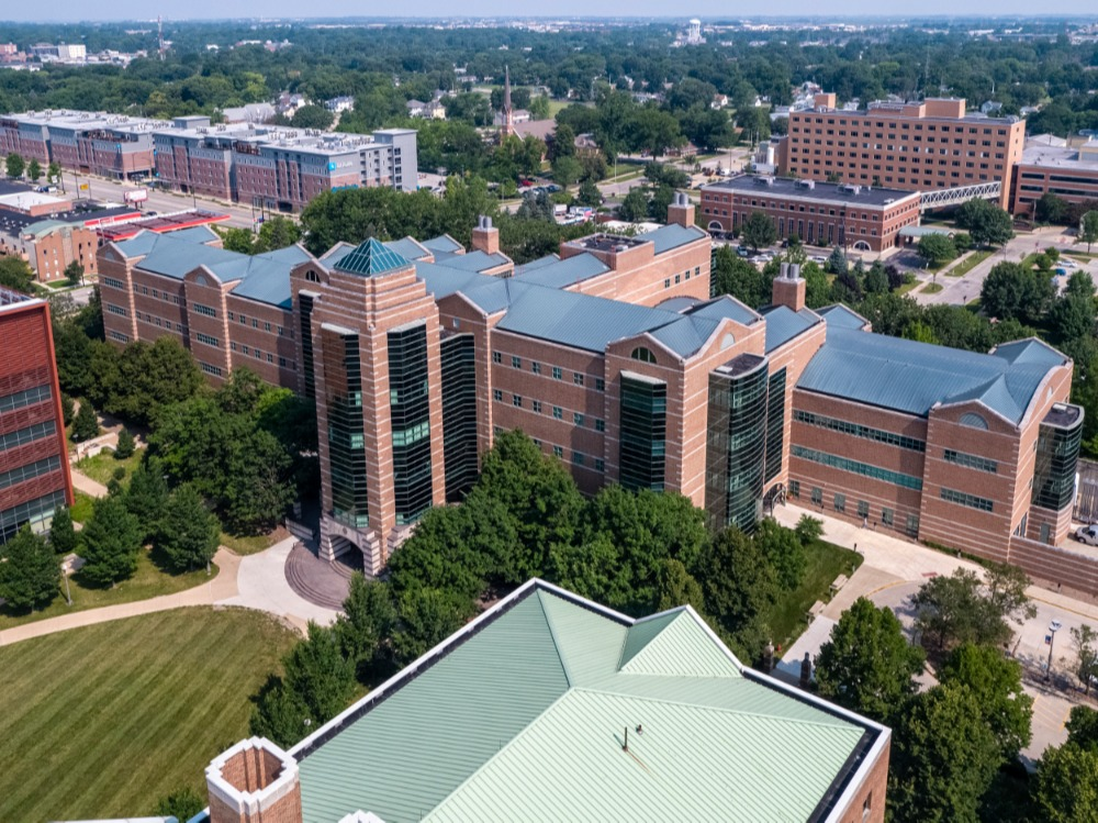 An aerial image of Beckman Institute.