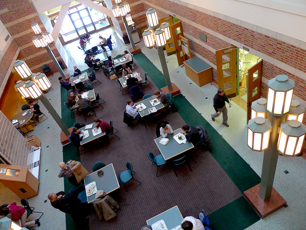 An aerial view of the Beckman Institute Cafe at the Beckman Institute at the University of Illinois at Urbana-Champaign (UIUC)