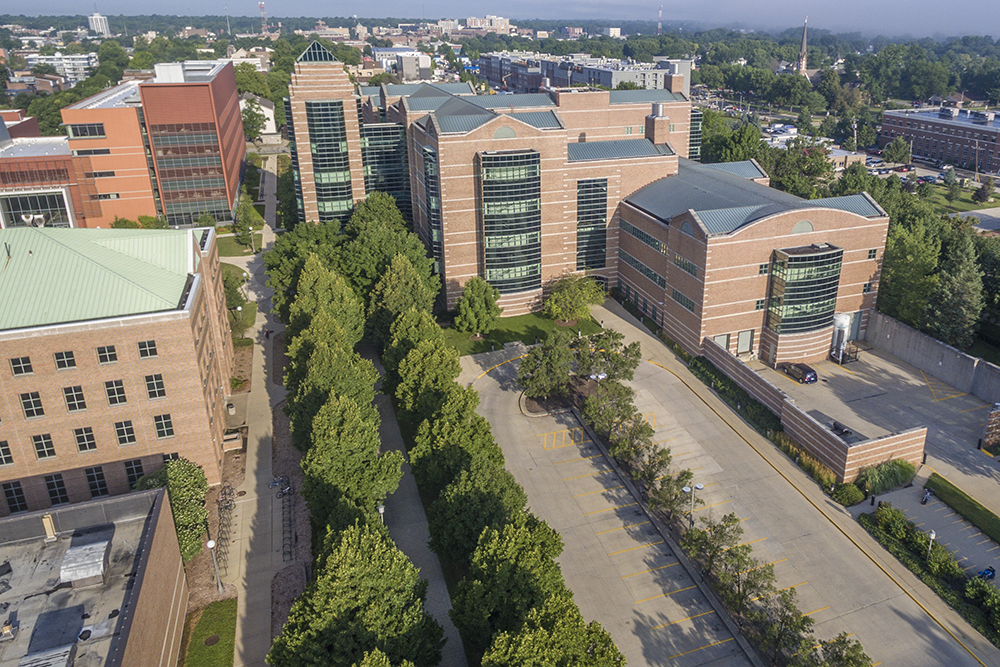 An aerial view of the east side of the Beckman Institute at the University of Illinois at Urbana-Champaign (UIUC)
