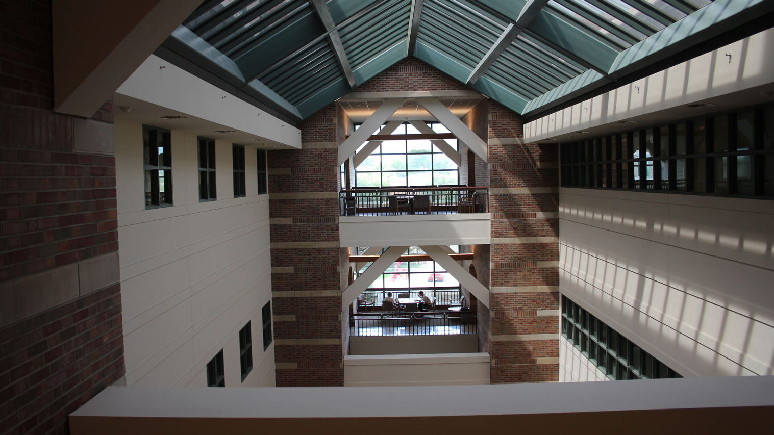 The view of Beckman's atrium from a bridge inside the building