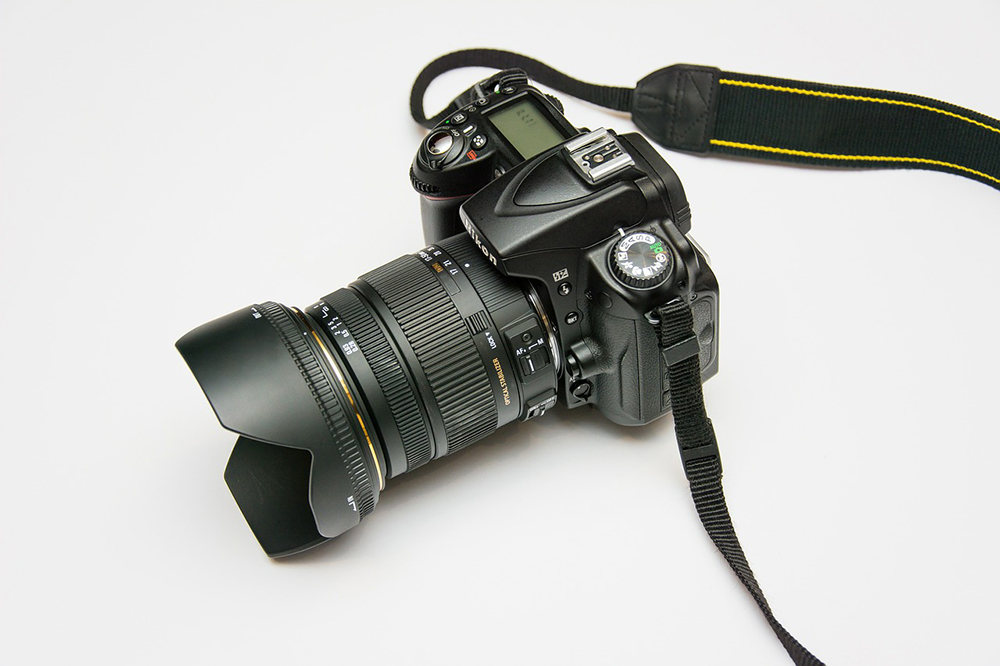 A photo of a camera against a white background.