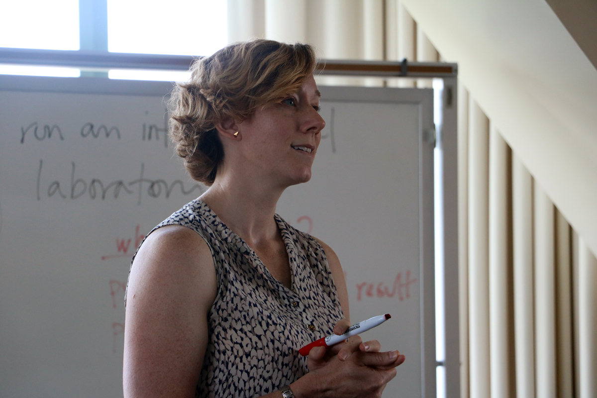 Kate Clancy speaks at a lecture in one of Beckman's Tower Rooms with a white board behind her.