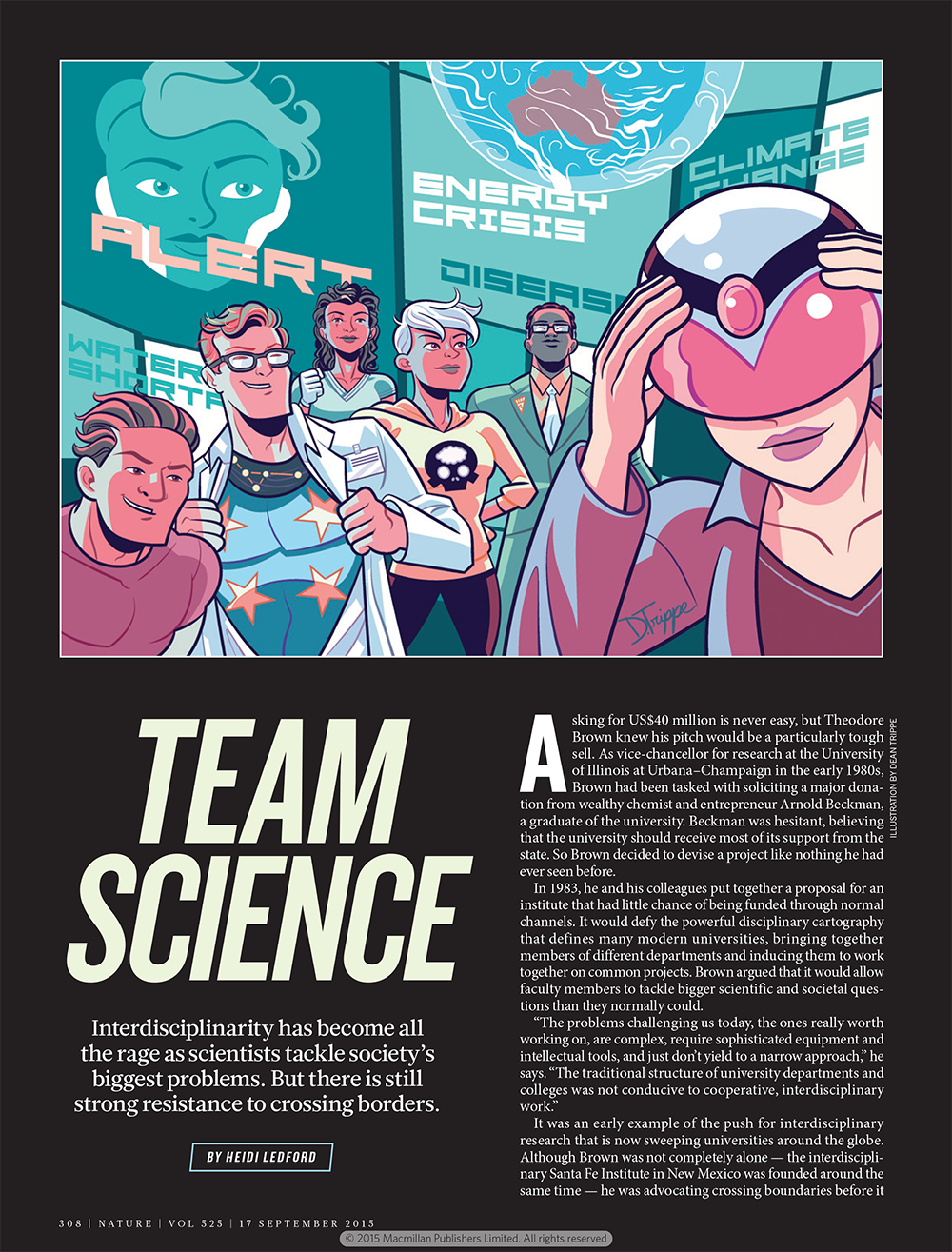 An image of the first page of Nature's article on interdisciplinary scientific research, featuring the Beckman Institute
