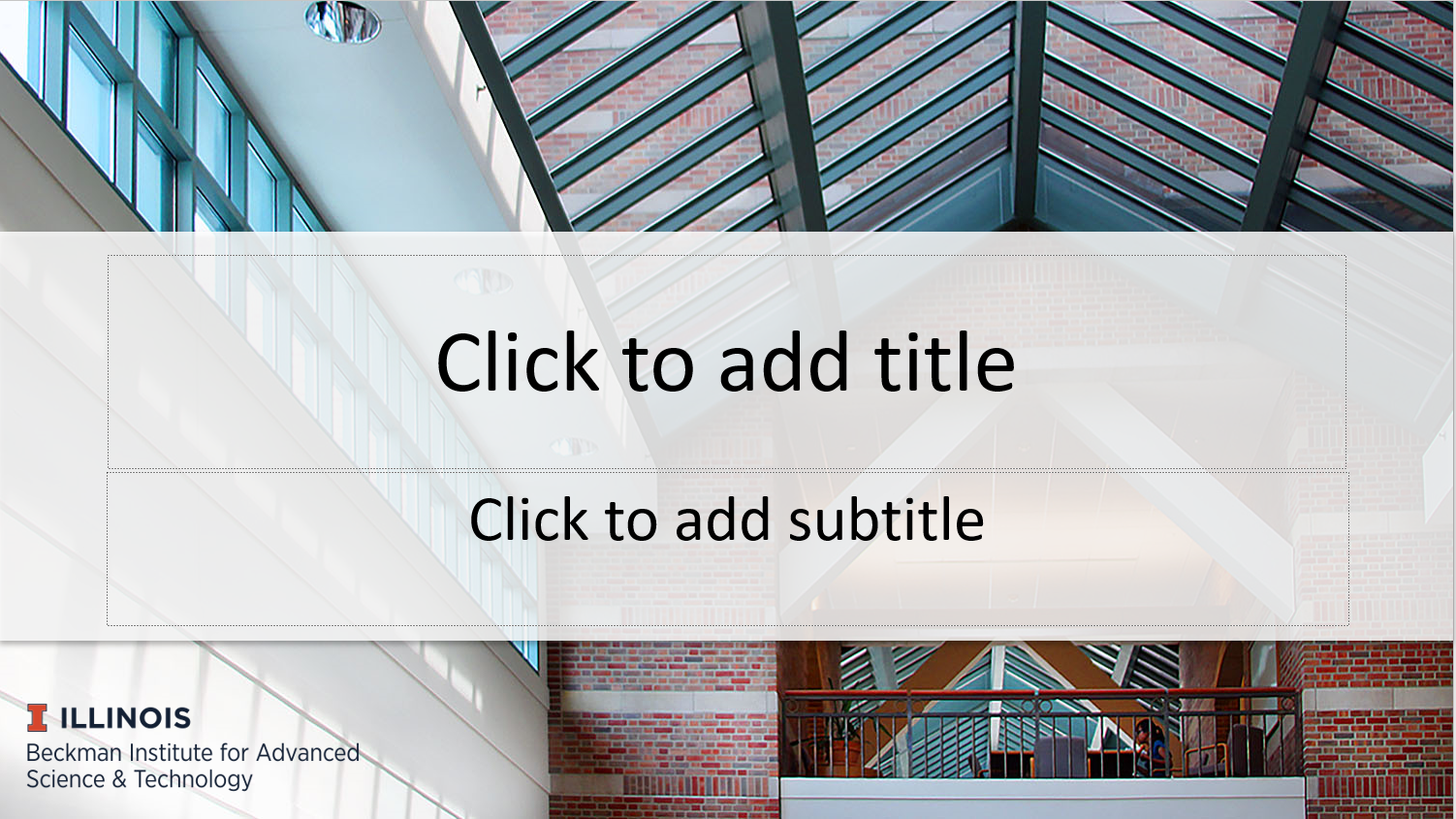 "A screenshot of the Beckman PowerPoint template. It has the Beckman wordmark at the bottom left, a background photo of the atrium, and the words ""Click to add title"" and ""Click to add subtitle."""