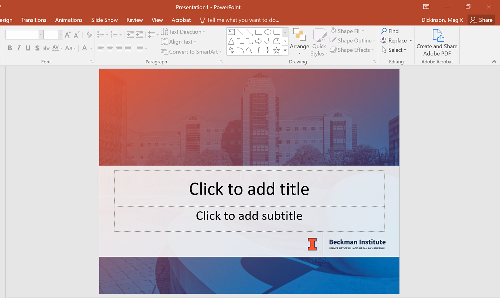 Image of powerpoint template on a computer screen