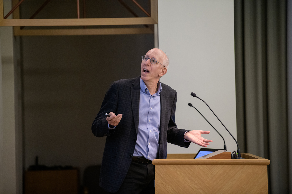 Yaakov Stern at the podium in the Beckman auditorium in October 2019 giving the Beckman Brown lecture.