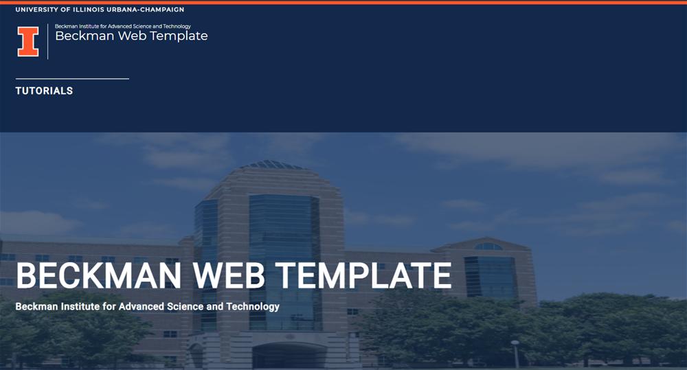 Screenshot of a website that says Beckman Web Template