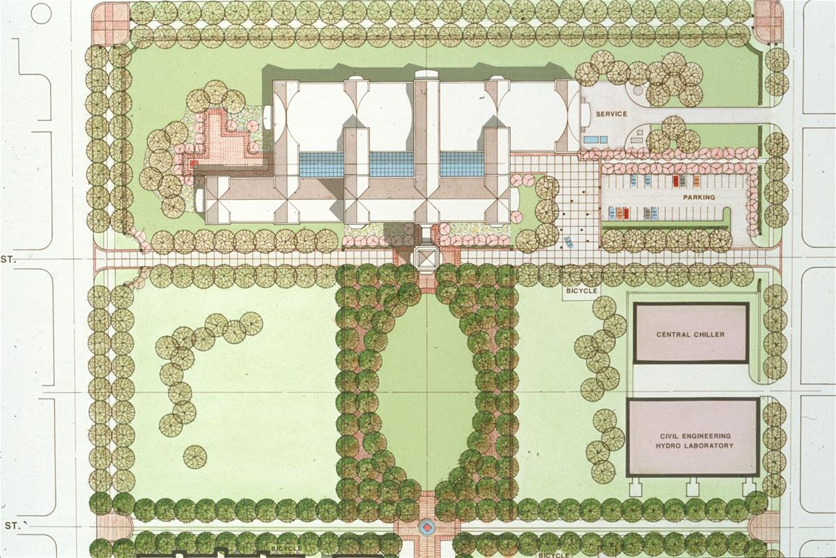 A rendering of the aerial view of the Beckman Institute at the University of Illinois at Urbana-Champaign (UIUC)