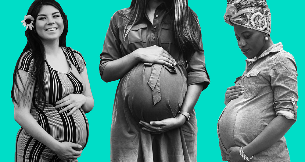 A graphic of three obviously pregnant women. Their black-and-white figures are cut out and the background is teal.