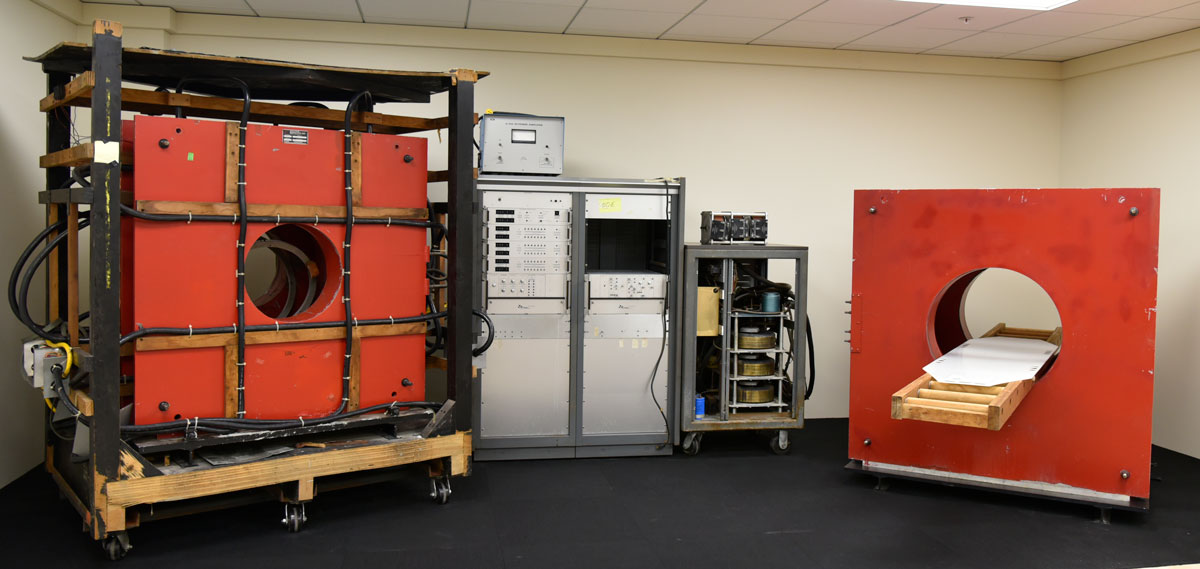 Big Red, the first human MRI scanner, is assembled and open for public viewing in the Illinois MRI Exhibit.