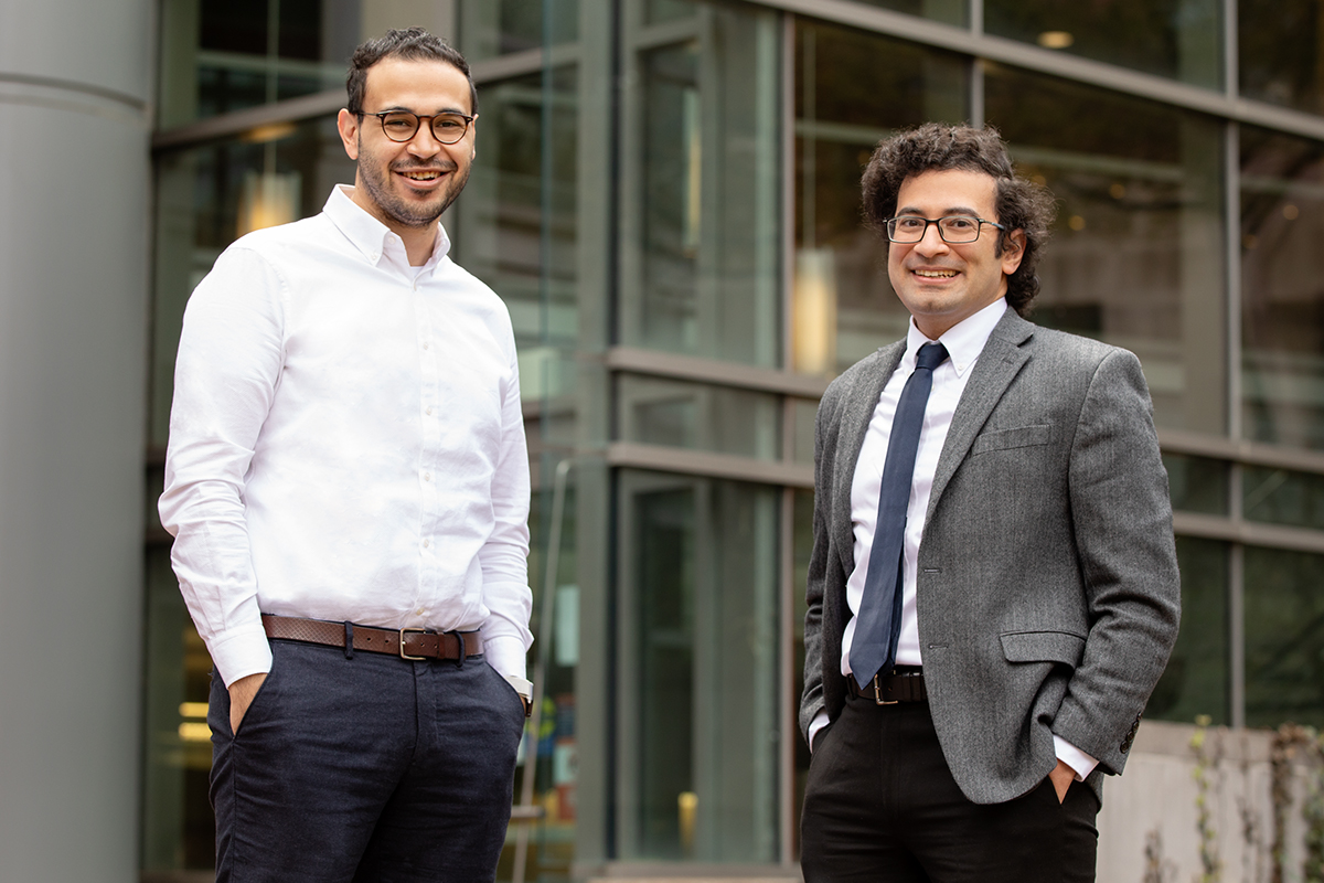 Illinois researchers Mohamed Abdelmeguid, left, and Ahmed Elbanna