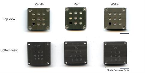 In all, 27 samples were fixed to three plates, each being one inch square. Picture shows the top and bottom view of all three plates: the zenith, ram, and wake. Each plate has numbers from one to nine engraved on its bottom surface.