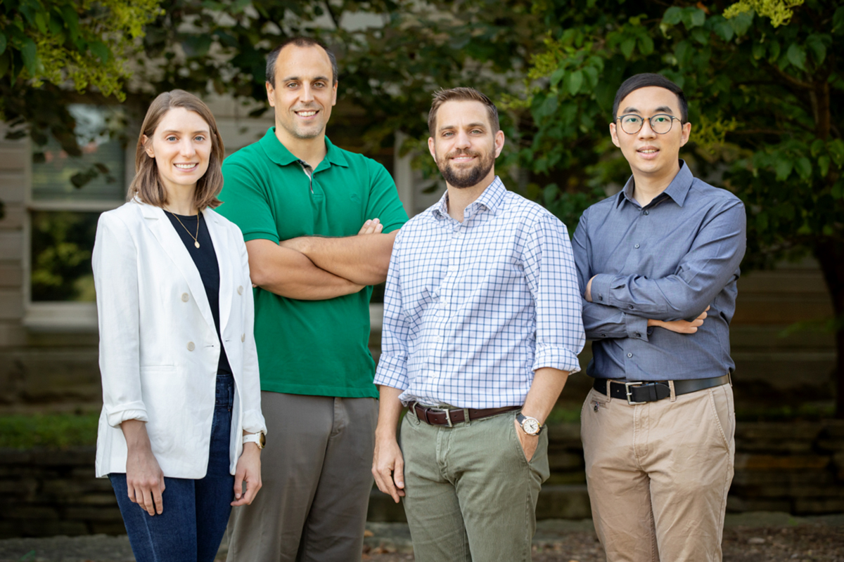 From left, graduate student Ellie Porath, professor Nenad Miljkovic, professor Christopher Evans and graduate research assistant Jingcheng Ma.