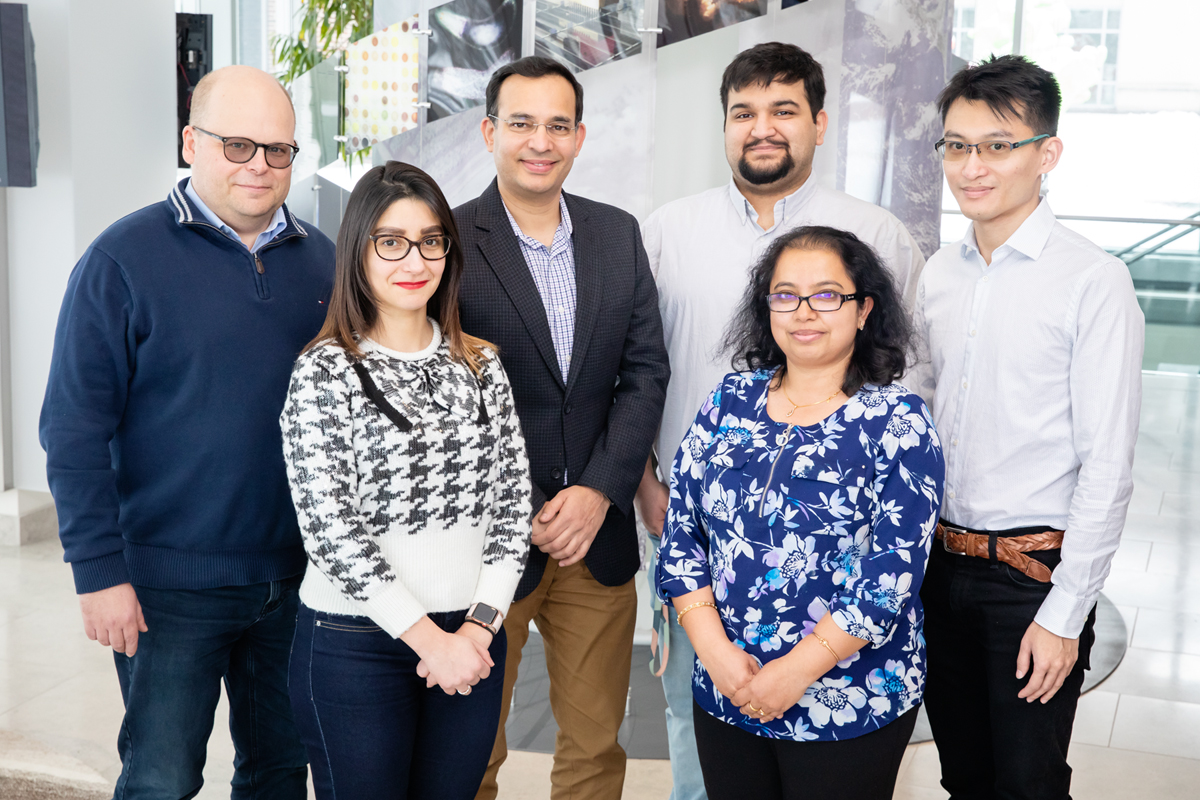 Research team picktured: from left, bioengineering professor Lawrence Dobrucki, postdoctoral fellow Jamila Hedhli, biochemistry professor Auinash Kalsotra, graduate student Sushant Bangru, research scientist Chaitali Misra and graduate student Kin Lam.