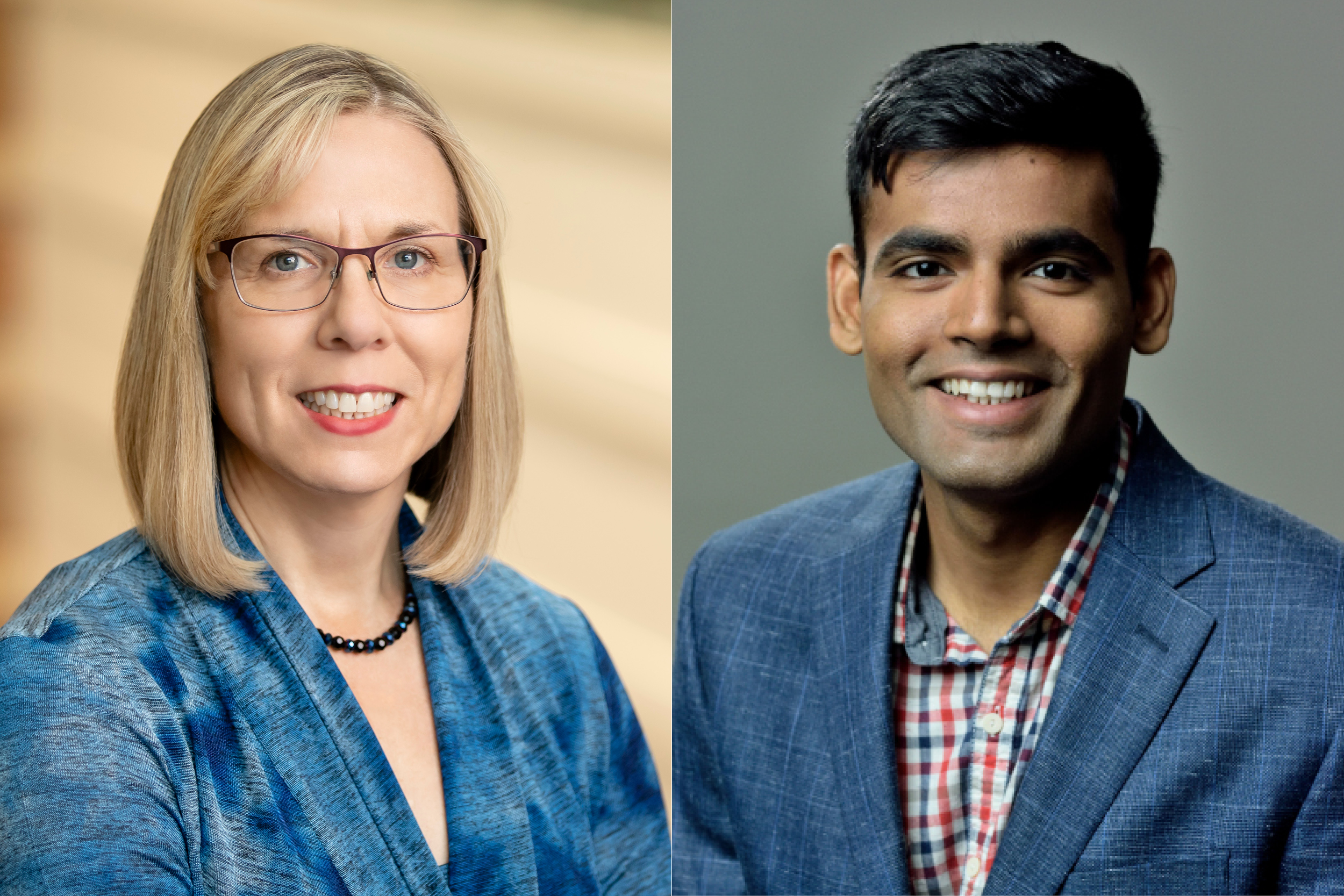 Portraits of Professor Nancy Sottos and Grad Student Dhawal Thakare