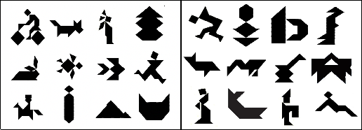 Easy tangram shapes such as a dog and a tree are juxtaposed against more difficult tangram shapes, which are harder to describe in concise words.