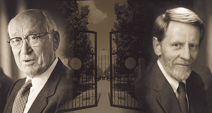 Collage image with a portrait of Arnold Beckman on the left, the opening gates of the Beckman Institute in the center, and a portrait of Ted Brown on the right.