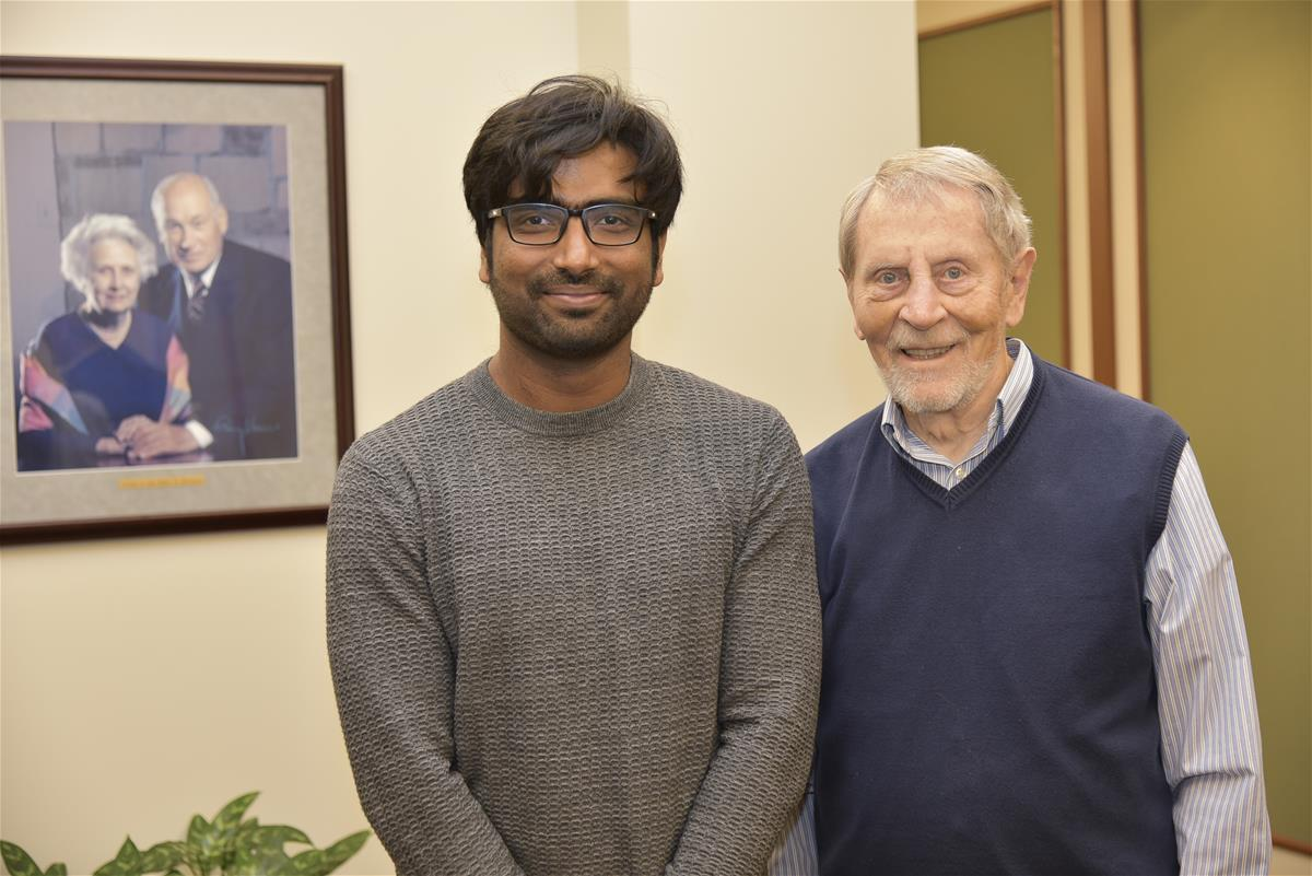 Arun Maji is this year's Beckman-Brown Postdoctoral Fellow. He is shown with Beckman Founding Director Ted Brown at the institute.